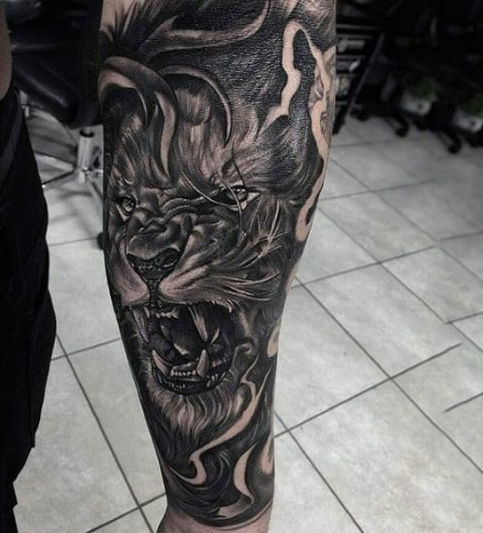 Hairy Black And Grey Lion Tattoo Mens Forearms