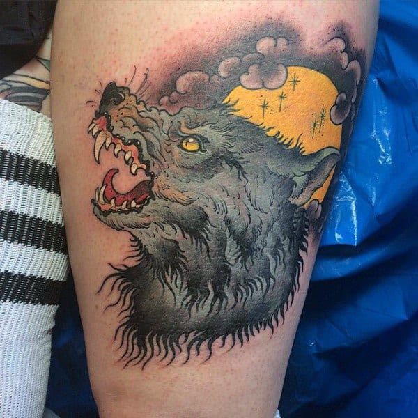 Hairy Wolf With Yellow Eyes Tattoo Mens Arms