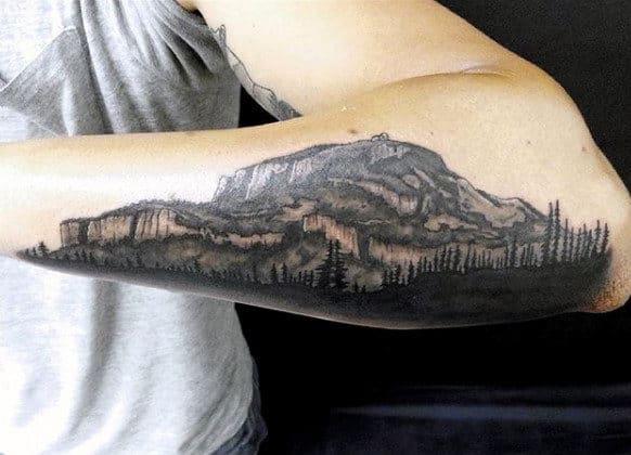 Half Arm Men's Pine Tree Tattoo