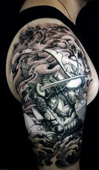 Battle Half Arm Sleeve Tattoos For Men