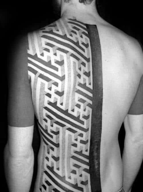 Half Back 3d Maze Tattoos Guys
