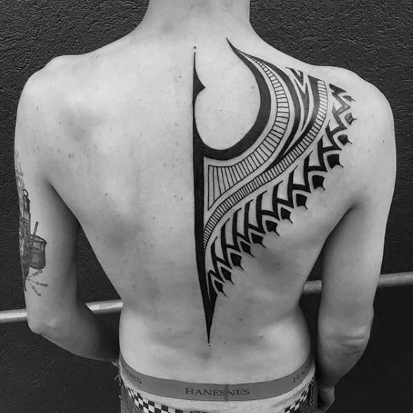 Half Back Cool Guys Tribal Tattoos With Black Ink Design