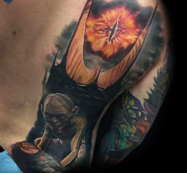 Half Back Gollum Lord Of The Rings Guys Tattoo Designs