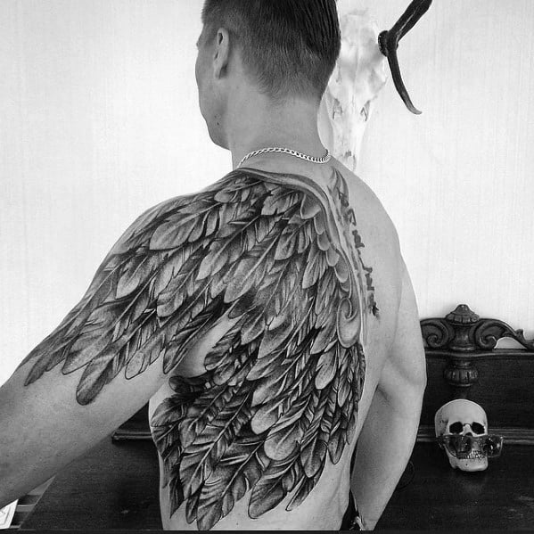 Half Back Guys Cool Angel Wing Tattoos