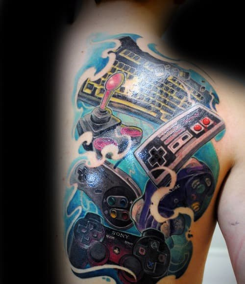 Half Back Retro Incredible Playstation Tattoos For Men