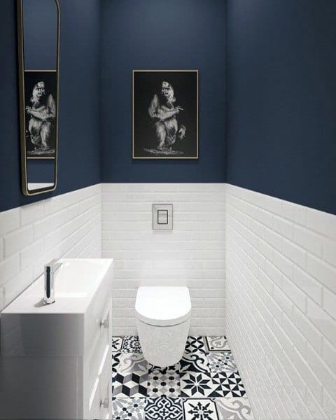 Half Bath Ideas Blue And White Color Theme
