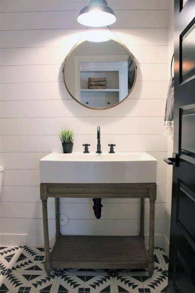 Half Bath Ideas Rustic Design With White Shiplap Walls