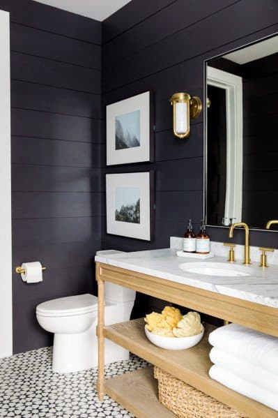 Half Bath Shiplap Wall Interior Ideas