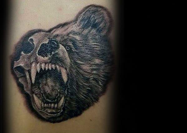 Half Bear And Half Skull Guys Arm Tattoos