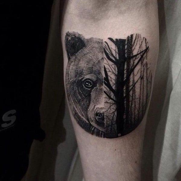 Half Bear Half Tree Forest Mens Inner Forearm Tattoos