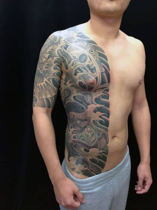 Half Chest Guys Japanese Octopus Tattoos