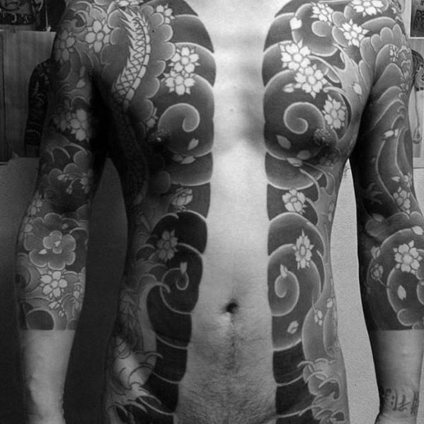 Half Chest Guys Shaded Wind Clouds With Splashing Water Japanese Tattoo
