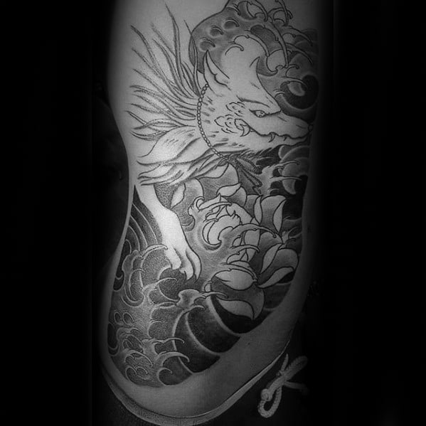 Half Chest Japanese Kitsune Male Tattoo Inspiration
