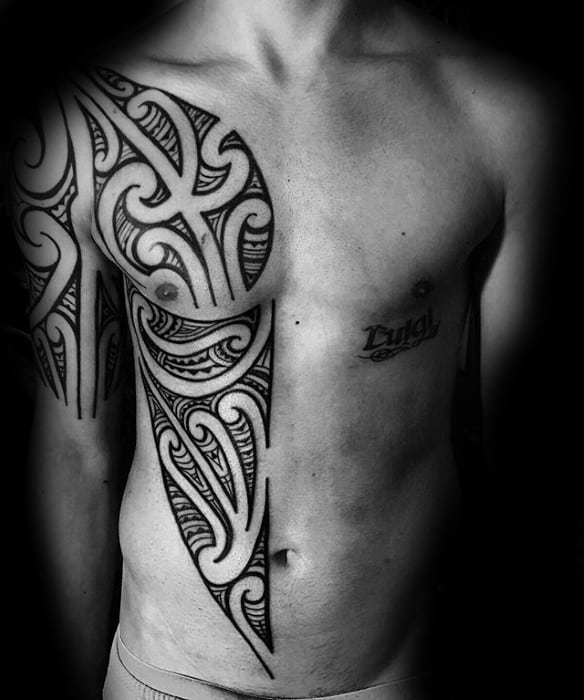Half Chest Sick Male Tribal Tattoo Ideas