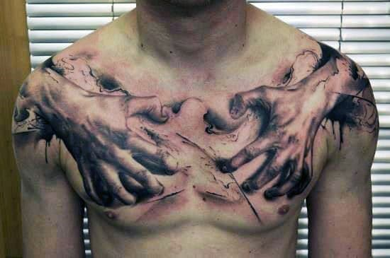 Half Chest Tattoos For Men