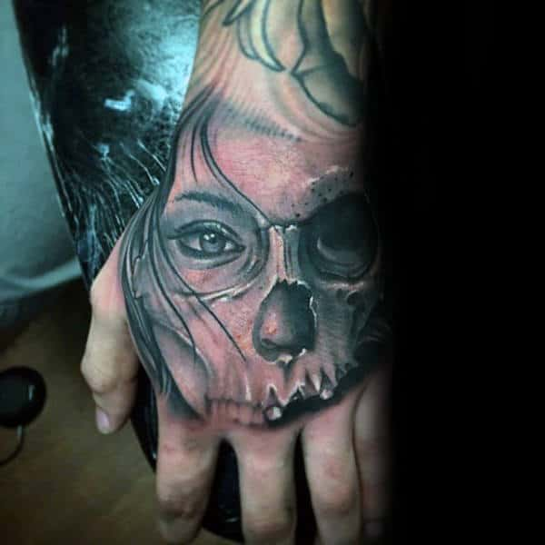 Half Female Portrait Half Skull Guys Hand Tattoos