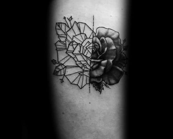Half Flower Half Geometric Rose Mens Forearm Tattoo