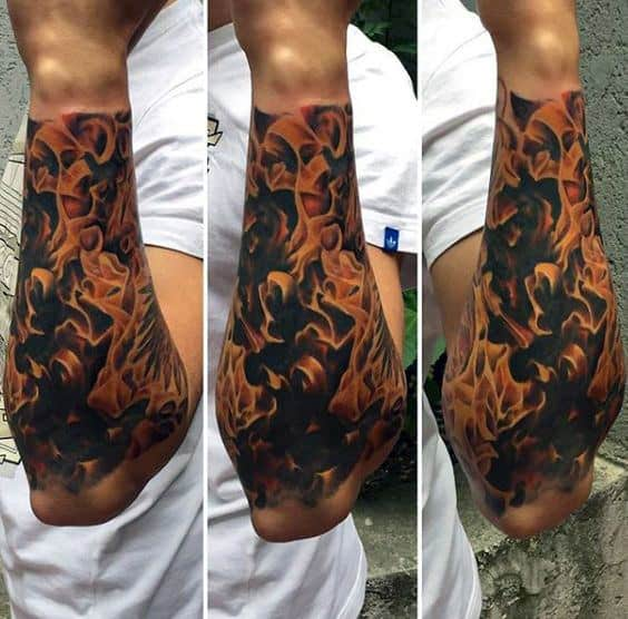 Half Forearm Sleeve Tattoo For Men Flames