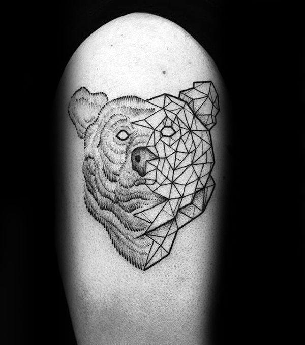 Half Geometric Bear Mens Arm Tattoos