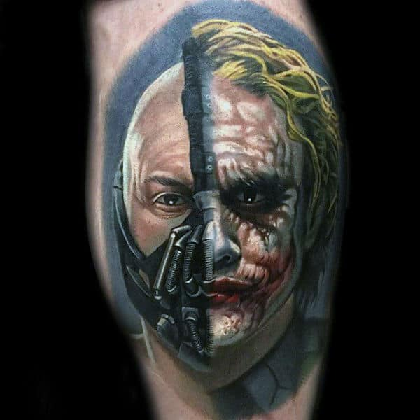 Half Joker Half Bane Mens Leg Tattoos