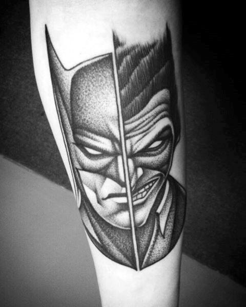 Half Joker Half Batman Mens Inner Forearm Shaded Tattoos