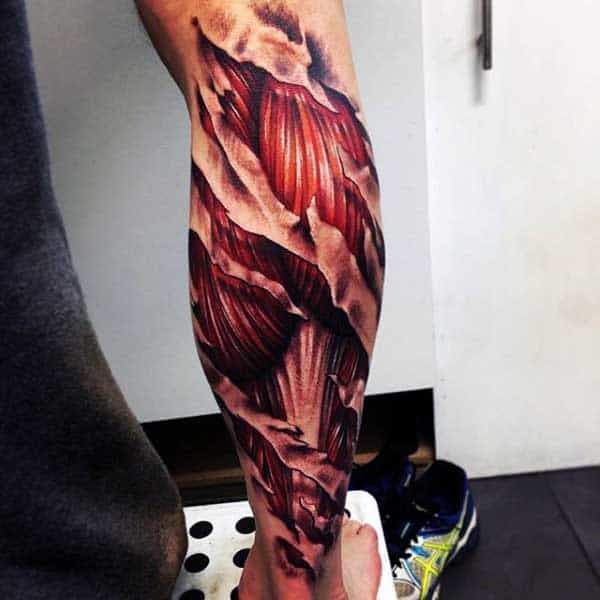Half Leg Sleeve Ripped Skin Muscle Tattoos
