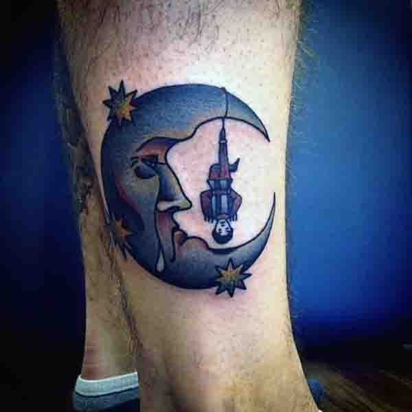 Half Moon Tattoo For Men On Legs