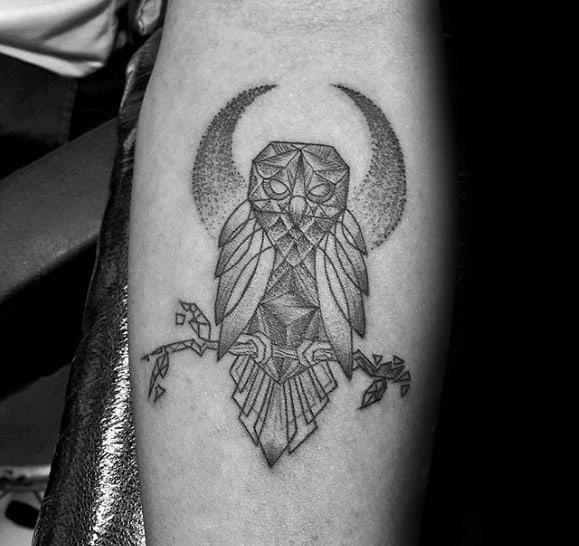 Half Moon With Geometric Owl On Tree Branch Mens Inner Forearm Tattoo