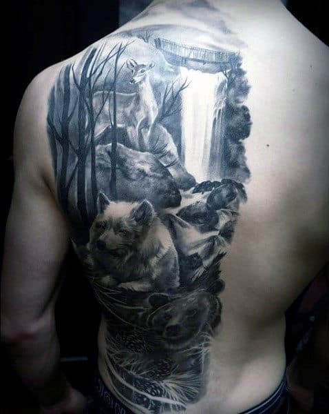 Half Of Back Deer With Bears Mens Waterfall Tattoo Designs