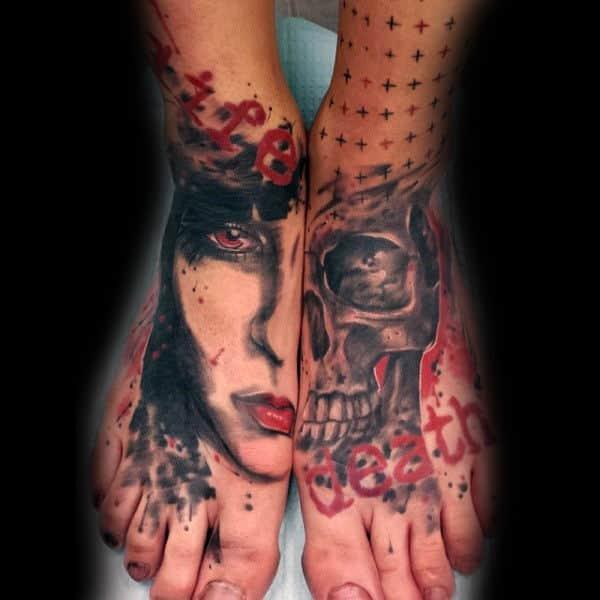 Half Portrait Half Skull Mens Trash Polka Foot Tattoos