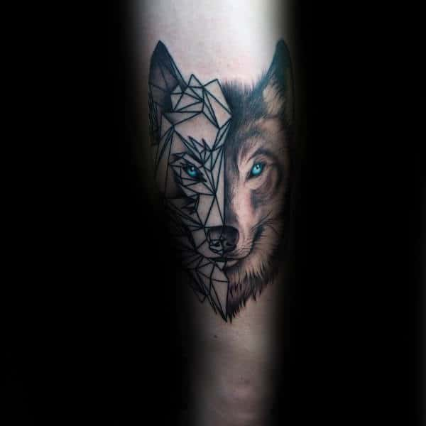 Half Realistic Half Geometric Wolf Mens Tattoo