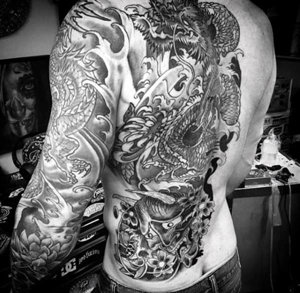 Half Side Of Back Guys Dragon Tattoos