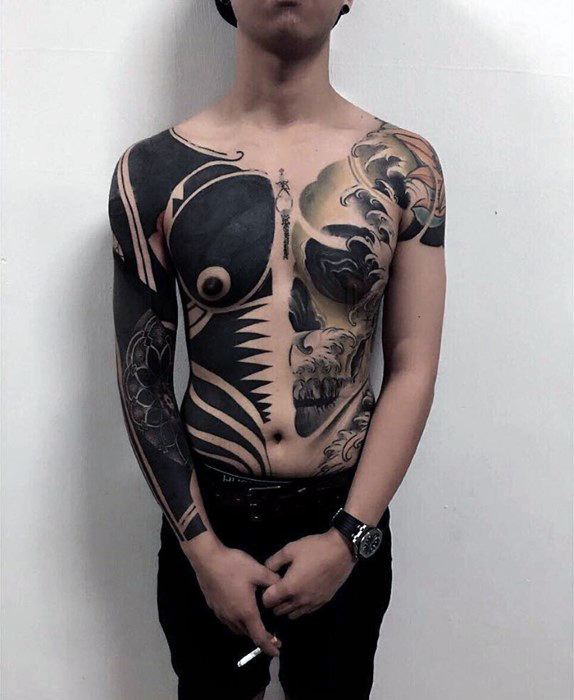 73795d746 Half Skull And Half Blackwork Mens Cover Up Full Chest Tattoos
