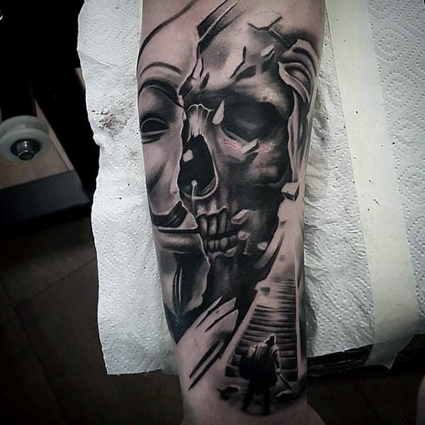 Half Skull And Mask Guys Chicano Stairway To Heaven Arm Tattoo