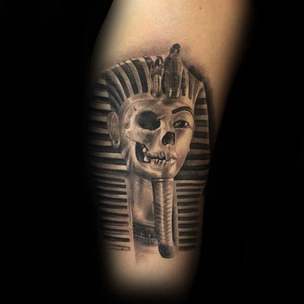 Half Skull King Tutankhamun Mens Arm Tattoo With 3d Design