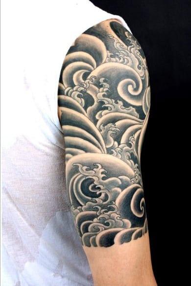 Half Slee Mens Black Water Tattoo