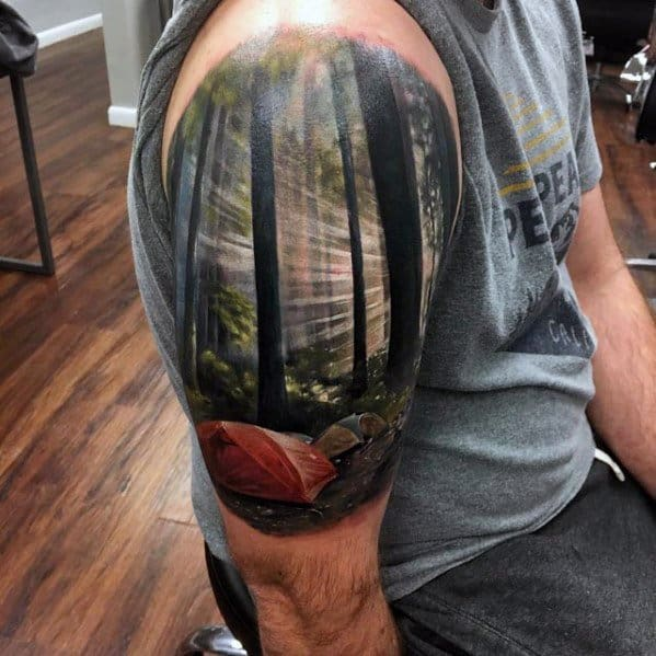 Half Sleev 3d Ultra Realistic Male Tattoo With Tent Design
