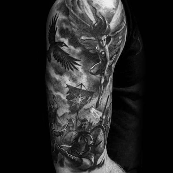 Half Sleeve 3d Battle Scene Guys Tattoo Ideas Valkyrie Designs