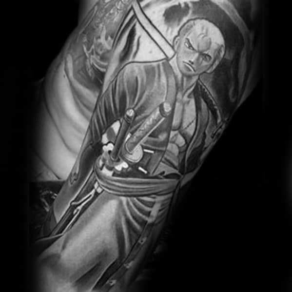 Half Sleeve 3d Black And Grey Ink Anime Tattoo Designs For Guys