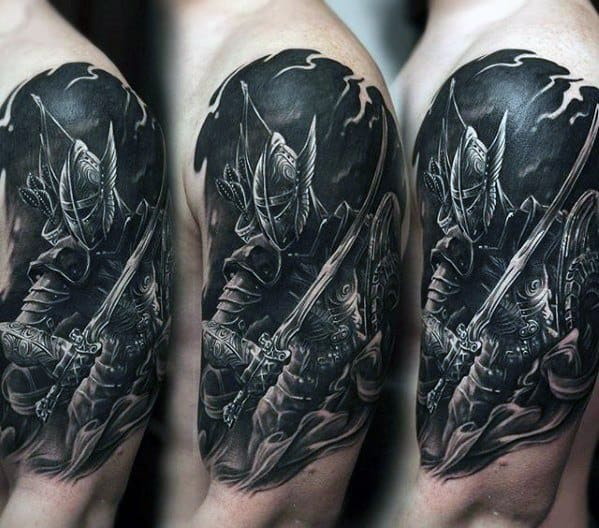 Half Sleeve 3d Creative Skyrim Tattoos For Men