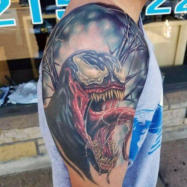 b81445887 Half Sleeve 3d Distinctive Male Venom Tattoo Designs