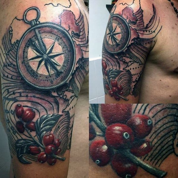 Half Sleeve 3d Male Cool Coffee Tattoo Ideas
