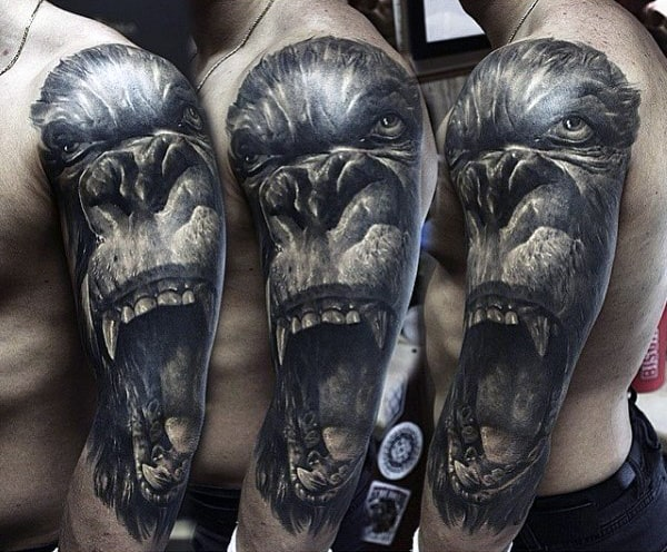 Half Sleeve 3d Mens Gorilla Tattoos In Black Ink