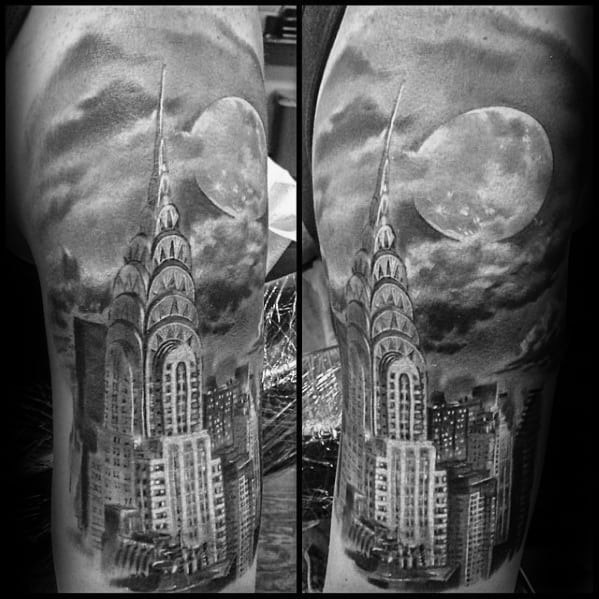 Half Sleeve 3d New York Skyline Tattoos Male