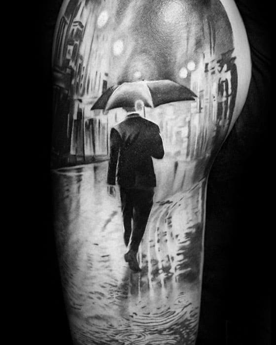 Half Sleeve 3d Realistic Mens Cool Umbrella Tattoo Ideas