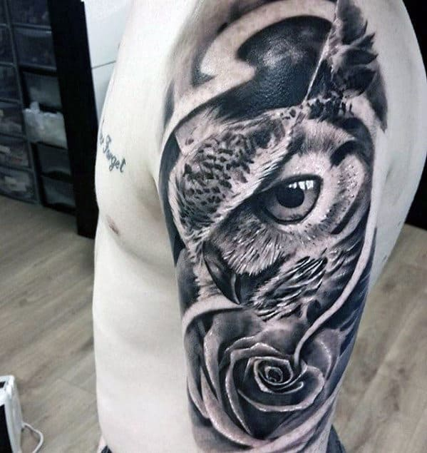 Half Sleeve 3d Realistic Owl With Rose Flower Male Tattoos