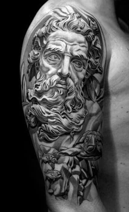 Half Sleeve 3d Socrates Tattoos For Gentlemen