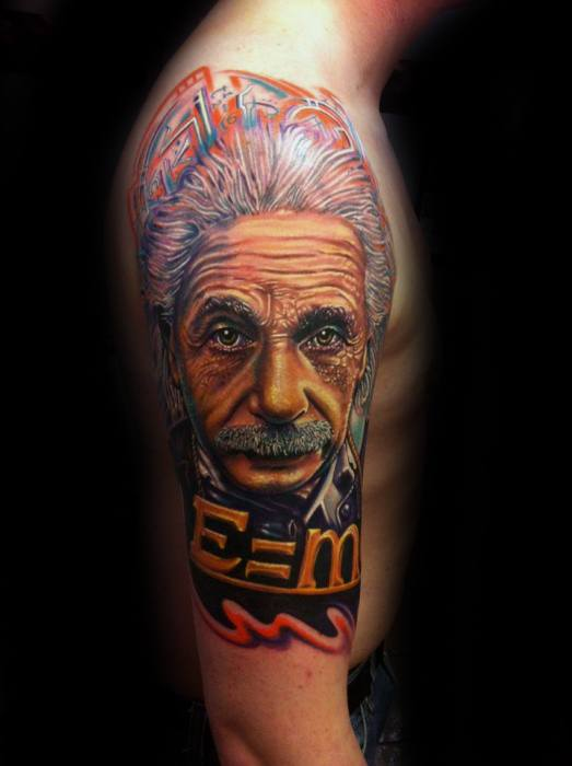 Half Sleeve Albert Einstein Male Tattoo Designs