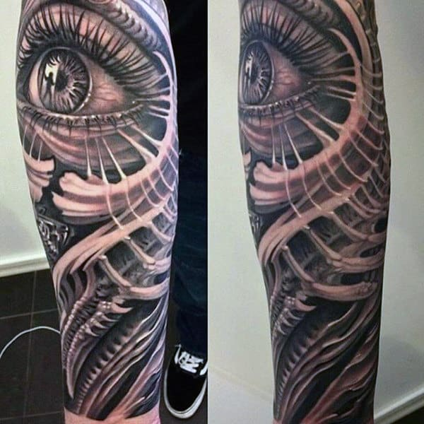 Half Sleeve All Seeing Eye Forearm Sleeve Male Tattoo