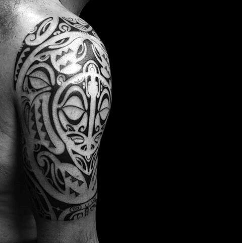 Half Sleeve Amazing Hawaiian Male Tribal Turtle Tattoo Inspiration